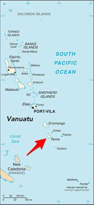 Location of Tanna Island Within Vanuatu