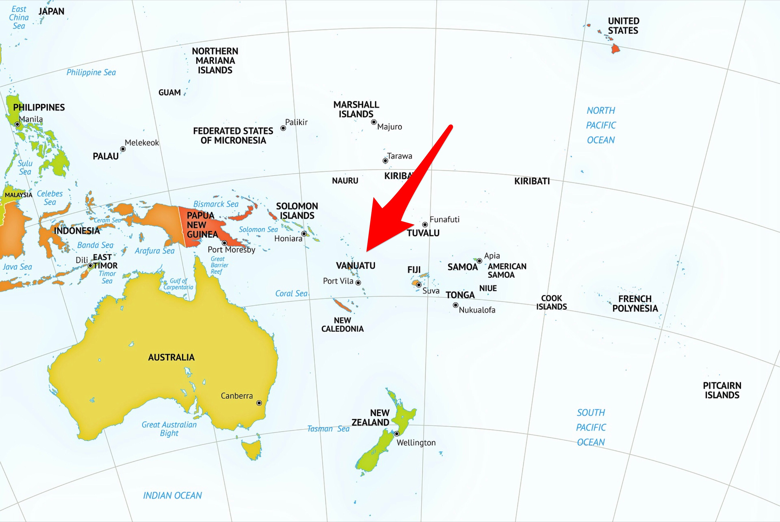 Location of Vanuatu Within Oceania