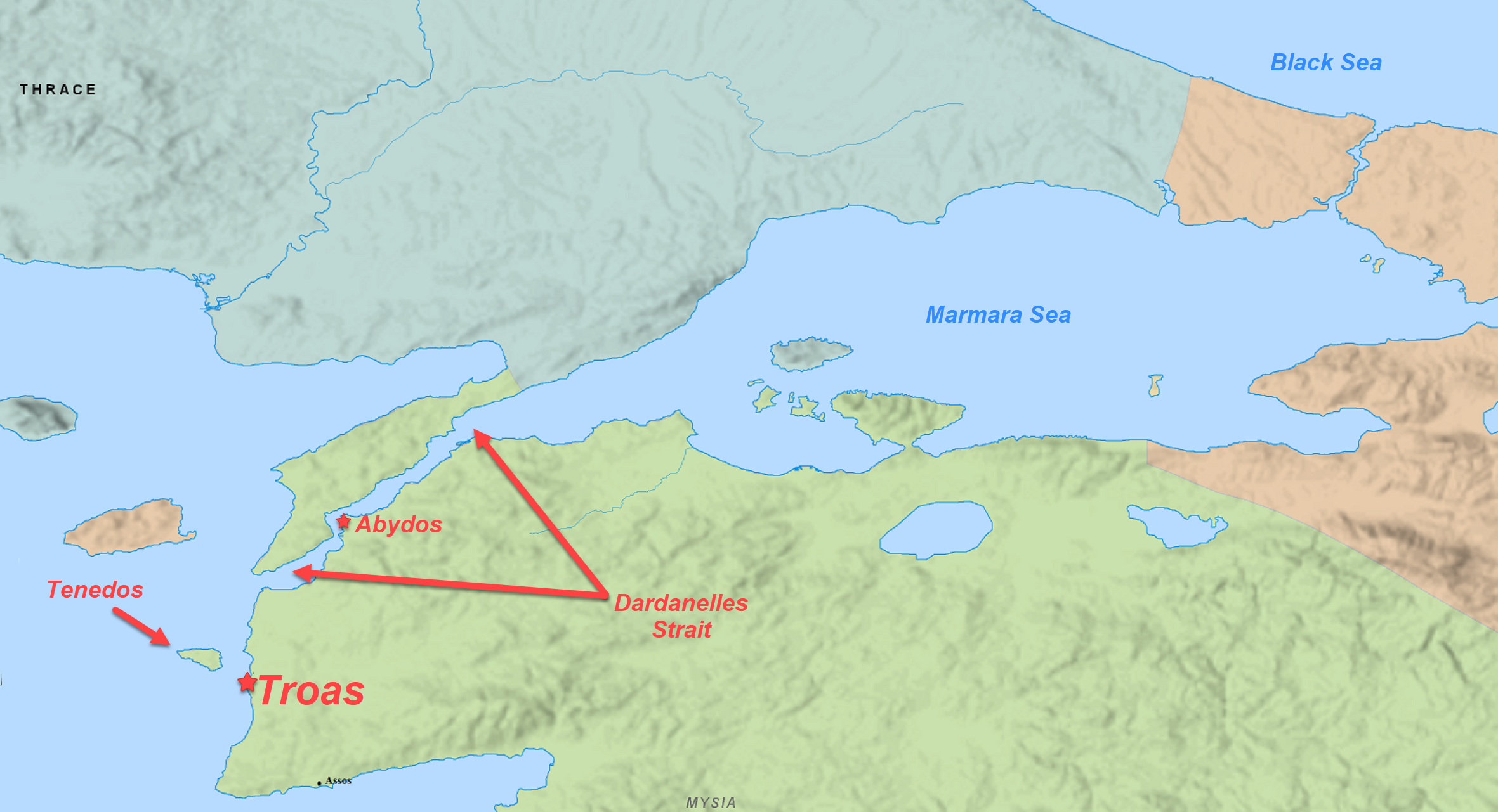 Dardanelles Strait, Tenedos, and Abydos